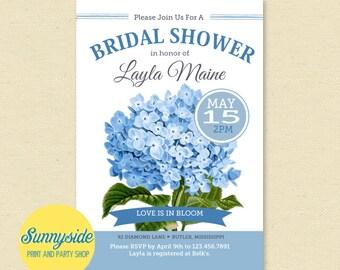 Hydrangea Invitation | Blue Hydrangeas Bridal Shower Invite | Garden party printable invitation | hydrangea wedding | seed packet inspired