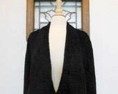 Black Faux Fur Cape Vintage 1950s Curly Lamb Capelet