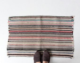 vintage rag rug, woven floor mat, throw rug