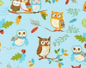 Robert Kaufman. Forest Fellows. Owls Wild - Cotton fabric BTY - Choose your cut