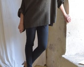Private listing for Kimberly - Straight neck Neck Tunic in Dark Khaki Green  Boiled Wool