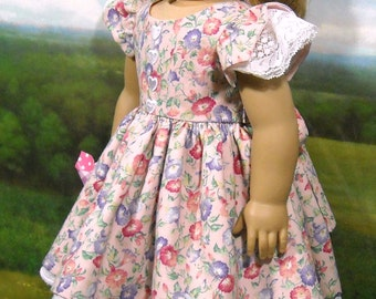 Pink and Purple Pansies  Dress  for 18 inch dolls