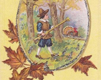Autumn Turkey Hunter- 1910s Antique Postcard- Thanksgiving Decor- Art Holiday Card- Fall Leaves- Colonial Pilgrim- Paper Ephemera