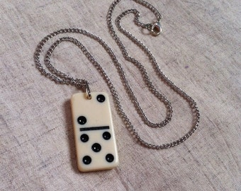 Handmade OOAK Domino Necklace Black And White Game Piece Jewelry Mixed Media The Number 7