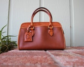 VTG Liz Claiborne Pebbled Leather Sienna Rust Clutch Top Handle Bag Purse Handbag Tote Bag Designer Doctors Bag Hobo Boho Bag Hippie Preppy