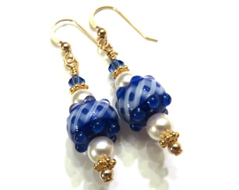 Blue & White Lampwork Earrings With White Swarovski Pearls, Blue Earrings, White Earrings, Blue Lampwork Earrings, White Pearl Earrings