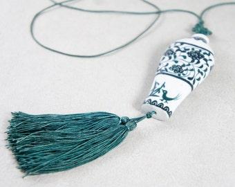 Porcelain Tassel Necklace - Green Summer Tassel Necklace - White And Green Leaf Tassel Necklace - Crane Necklace - Green Tropical Necklace