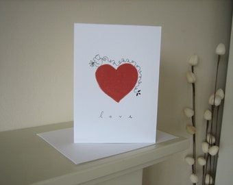 Red Heart - Love Bird - Wedding Anniversary Original Hand Printed Card, Linocut - Valentines Day Card Handmade