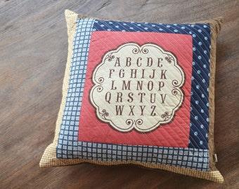 Alphabet throw quilted pillow cushion - Modern Pillow
