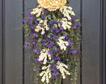 Spring Wreath Summer Wreath Teardrop Vertical Door Swag Decor-Cream Peony-Purple Artificial Florals-Indoor/Outdoor Decor