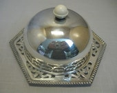 Silver Plate Celtic Butter Cheese Bowl Ep on BR Celluloid Handle 1940