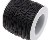 Waxed Cord : 10 feet Black 1mm Waxed Cord String | Bracelet Cord | Macrame Cord | Chinese Knotting Shamballa Cord 131-10
