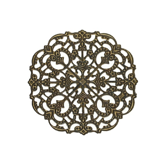 Filigree : 10 Antique Bronze Filigree Links | Brass Square Filigree Stampings Connectors Wraps Embellishments -- 45421.B37