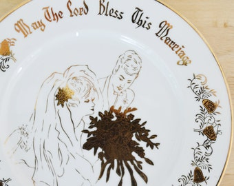 Vintage Ceramic Wedding or Anniversary Plate by Norcrest Fine China