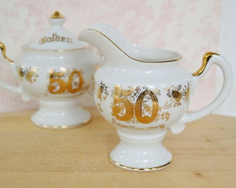 Vintage 50th Anniversary Cream and Sugar Bowl by Norcrest