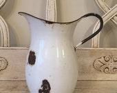 Antique White Enamel Pitcher - Farmhouse Rustic Pitcher  - Enamelware