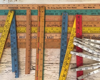 12 Vintage Wooden Rulers, Yard Sticks and Pieces - Assorted Sizes and Styles