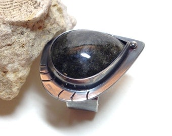 Black Statement Ring, Silver, Gold Obsidian, unique handmade gift, ready to ship