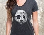 Panda Bear Pirate Women's T-Shirt- American Apparel Women's T-Shirt - Heather Black
