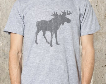 Moose with Rustic Texture - Men's T-Shirt - American Apparel Screen Printed T-Shirt - All Sizes Available