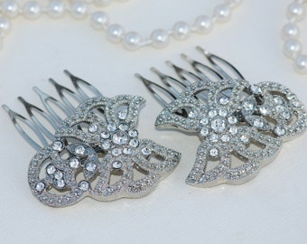 Vintage TRIFARI Silver Pave Bridal Hair Combs,Set of Two Small Hair Combs,Silver Crystal Diamante,Weddings,Something Old,Art Deco Style