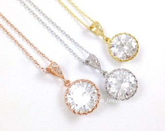 Rose Gold Cubic Zirconia Wedding Necklace, Round Clear Crystal Bridal Bridesmaids Necklaces, Silver, Gold or Rose Gold Necklace