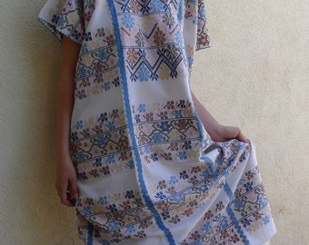 "Collectors Mexican long huipil dress wedding hand woven Natural dyes elegant Amuzgo Oaxaca resort boho Frida Kahlo 28 1/2"" W x 48"" L"