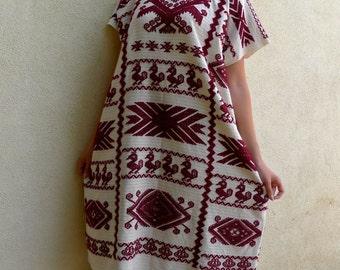 "Mexican Oaxaca huipil dress handwoven Usila white deep red patterns boho resort Frida Kahlo style 30""W x 43""L"