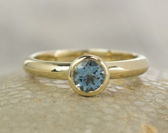 Alternative Engagement Ring - Aquamarine Ring - Gift for Her - Gold Ring - Solitaire Ring -Engagement Ring - Unique Engagement Ring