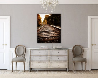 Canvas Wall Art: Rustic Brown Wall Art, Train Art for Men, Railroad Landscape, Rustic Brown Office Art, Rustic Landscape, Train Picture.