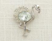 Silver Rhinestone Flamingo Brooch Vintage Art Deco Feathers Broach Costume Jewelry | Vtg Pin 16B