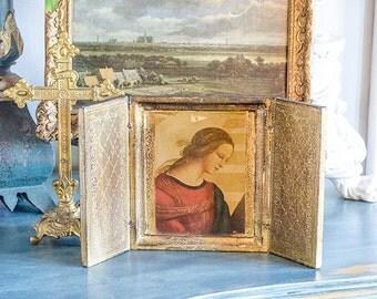 Vintage Florentine Triptych, Madonna, Trifold, Gilded, Wood
