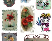 """Large Stickers (each sticker 2.5""""x3.5"""", pack 8 stickers) Scrapbooking Craft Vintage # Kittens and Flowers FLONZ 142"""