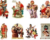 """Large Stickers (each sticker 2.5""""x3.5"""", pack 8 stickers) Scrapbooking Craft Vintage # Christmas Families and Shopping FLONZ 302"""