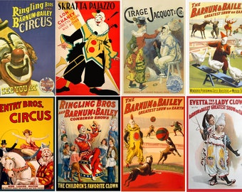BULK PACK # Large Stickers # Vintage Circus Posters FLONZ 216