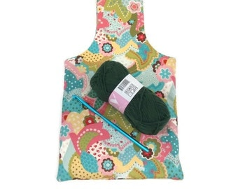 Small Spring Paisley Flower Yarn Bag Project Tote S114
