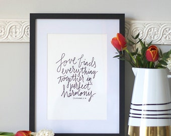 Letterpress Love Quote Print based on Colossians Bible Verse