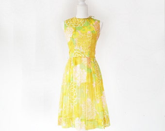 Yellow Floral Fit and Flare Dress Vintage Mod Cotton Full Pleated Skirt Small Chrysanthemum Novelty Print Sundress 1960s Garden Party Dress