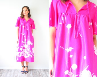 Vintage boho pink floral dress // vintage nightgown // summer floral dress // swim cover up // modest floral casual dress // medium dress
