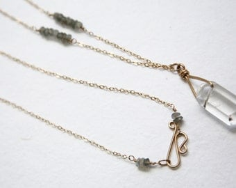 Tibetan Quartz Necklace, Long Gold Chain, Crystal Pendant, Quartz, Clear Quartz, Labradorite