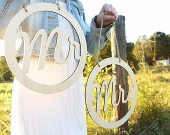 Rustic Mr and Mrs Chair Signs Wedding Chair Signs