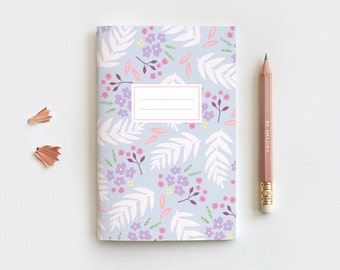 Floral Journal & Pencil Set, Midori Insert - Hand Drawn Illustrated Leaves Purple Floral Notebook - 3 Sizes - Blank, Lined or Dot Grid