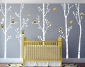 Tree Forest and Owls, Baby Nursery Wall Decal, Birch Tree with Owls, Wall Mural, Wall Decal, Baby Nursery Decor, Wall Decor prt0288