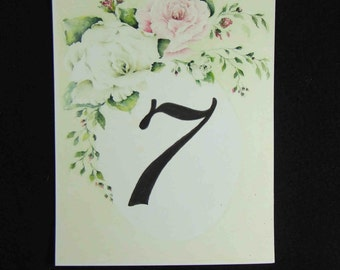 Floral Table Numbers.