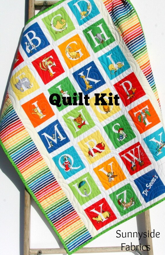 abc dr seuss quilt kit stripes panel dr seuss blanket baby project nursery bedding beginner simple alphabet bright colors primary from