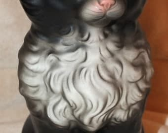 Vintage Black and White Sitting Cat Figurine