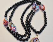 Vintage Venetian Murano Moretti Millefiori Black Glass Bead Pendant Necklace Flowers Floral Multi Colored Art Deco