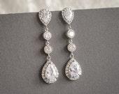 Wedding Earrings, Crystal Dangle Bridal Earrings, Zirconia Drop Statement Earrings, Old Hollywood Style Bridal Wedding Jewelry, HARLEY
