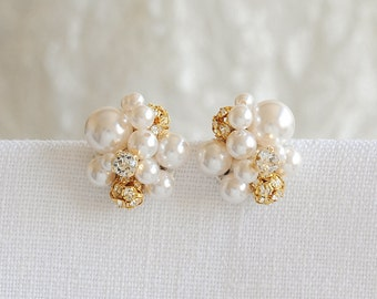 Gold Pearl Cluster Wedding Earrings, Bridal Earrings, Swarovski Crystal and Pearl Cluster Stud Earrings, Statement Bridal Jewelry, TASMIN