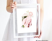 Gemstone Floral Trendy Art by Yellow Heart Art in Blush